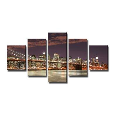 Urban Designs New York Skyline 5 Piece Photographic Print Wrapped on Canvas Set