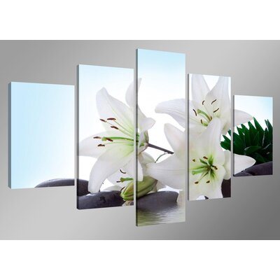 Urban Designs Flowers 5 Piece Photographic Print Wrapped on Canvas Set