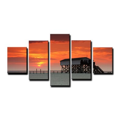 Urban Designs Beach House 5 Piece Photographic Print Wrapped on Canvas Set