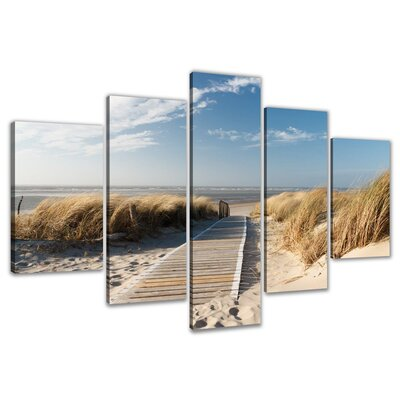 Urban Designs Beach 5 Piece Photographic Print Wrapped on Canvas Set