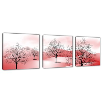 Urban Designs Trees Rosa 3 Piece Graphic Art on Canvas Set