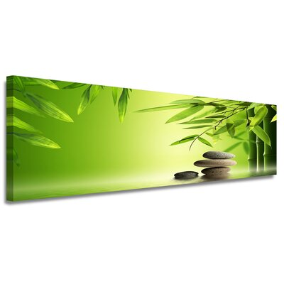 Urban Designs Bamboo Green Stones Graphic Art Wrapped on Canvas