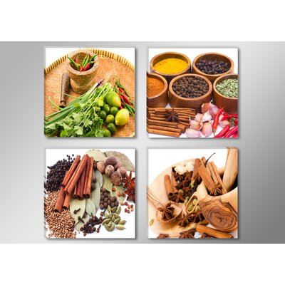 Urban Designs Spices 4 Piece Photographic Print Wrapped on Canvas Set