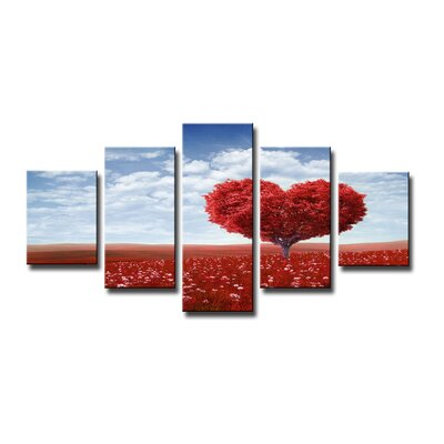 Urban Designs Heart Tree 5 Piece Photographic Print Wrapped on Canvas Set