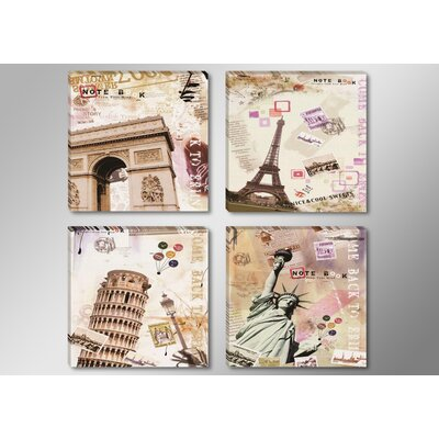 Urban Designs Cities Abstract Collage 4 Piece Graphic Art on Canvas Set