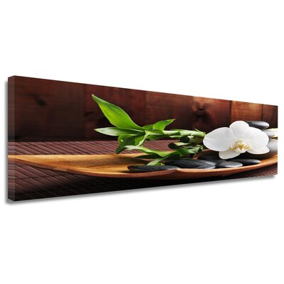 Urban Designs Bamboo Bowl Stones Photographic Print Wrapped on Canvas