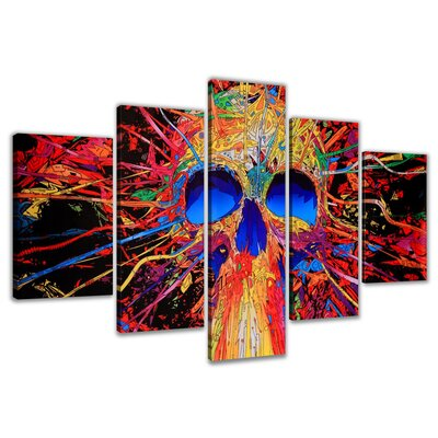 Urban Designs Skull Colorful 5 Piece Graphic Art Wrapped on Canvas Set
