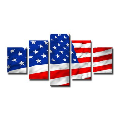 Urban Designs American Flag 5 Piece Photographic Print on Canvas Set