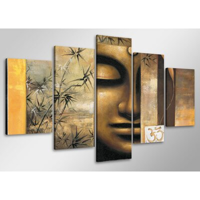 Urban Designs Buddha 5 Piece Graphic Art Wrapped on Canvas Set