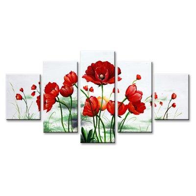 Urban Designs Flowers 5 Piece Art Print Wrapped on Canvas Set