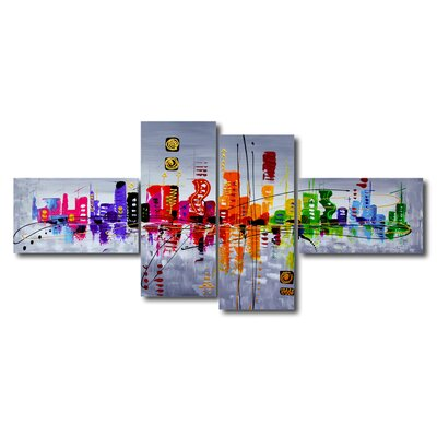Urban Designs Abstract 4 Piece Art Print Wrapped on Canvas Set