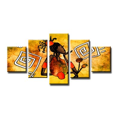 Urban Designs Africa 5 Piece Art Print Wrapped on Canvas Set