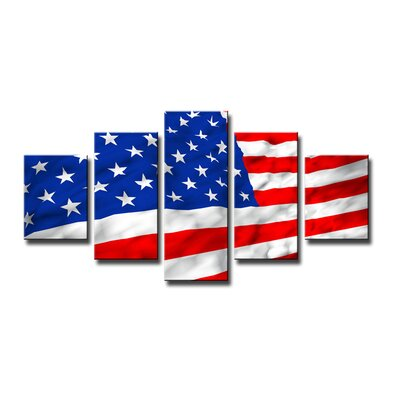 Urban Designs American Flag 5 Piece Photographic Print Wrapped on Canvas Set
