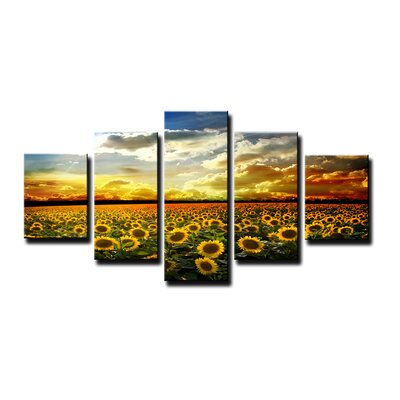 Urban Designs Sunflowers 5 Piece Photographic Print Wrapped on Canvas Set