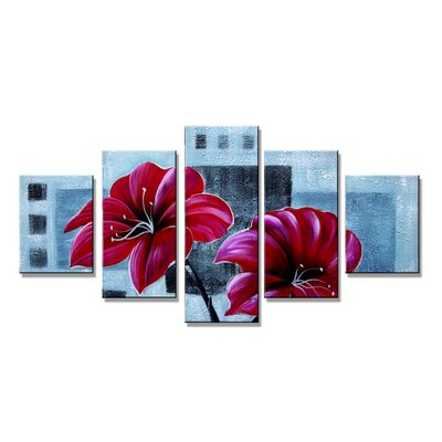 Urban Designs Flowers 5 Piece Graphic Art Wrapped on Canvas Set