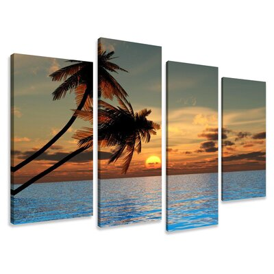 Urban Designs Palm Trees 4 Piece Photographic Print Wrapped on Canvas Set