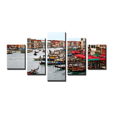Urban Designs Gondolas Venice 5 Piece Photographic Print Wrapped on Canvas Set