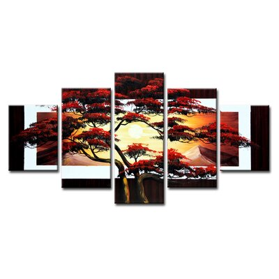Urban Designs Tree 5 Piece Photographic Print Wrapped on Canvas Set