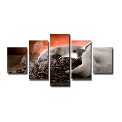 Urban Designs Coffee 5 Piece Photographic Print Wrapped on Canvas Set
