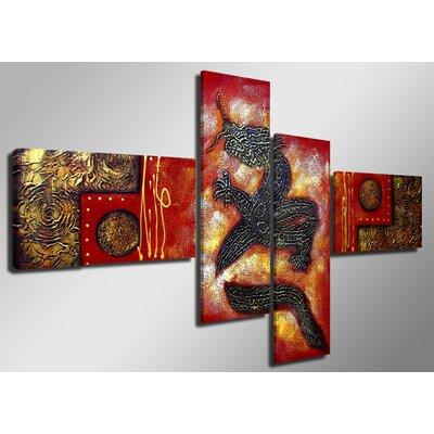 Urban Designs Dragon 4 Piece Graphic Art on Canvas Set