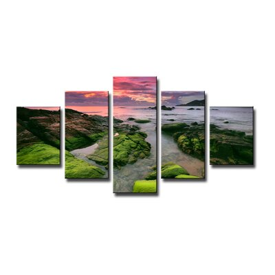 Urban Designs Nature Stones Moss 5 Piece Photographic Print Wrapped on Canvas Set