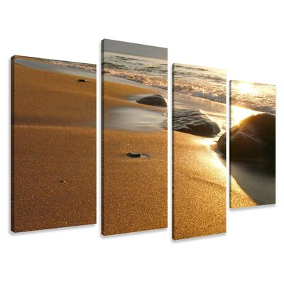 Urban Designs Beach Stones 4 Piece Photographic Print Wrapped on Canvas Set