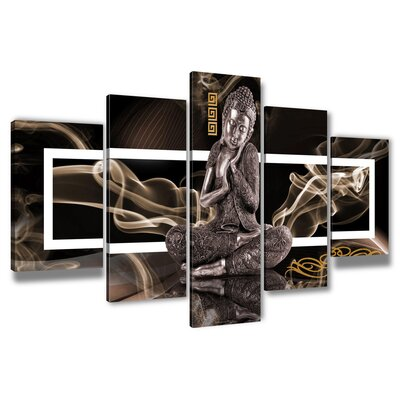 Urban Designs Buddha 5 Piece Graphic Art Wrapped on Canvas Set