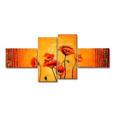 Urban Designs Flowers 4 Piece Graphic Art Wrapped on Canvas Set