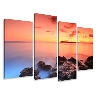 Urban Designs Colorful Ocean 4 Piece Photographic Print Wrapped on Canvas Set