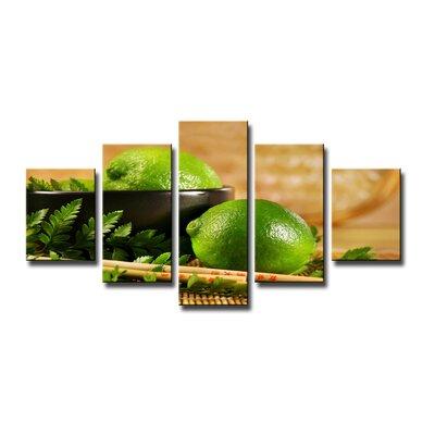 Urban Designs Lime Lemon 5 Piece Photographic Print Wrapped on Canvas Set