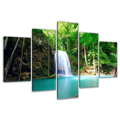 Urban Designs Waterfall 5 Piece Photographic Print Wrapped on Canvas Set