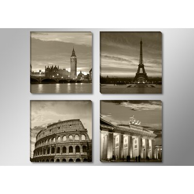 Urban Designs Cities:London, Paris, Rome and Berlin 4 Piece Photographic Print Wrapped on Canvas Set