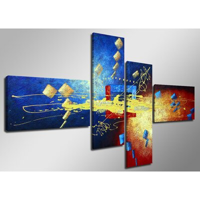 Urban Designs Hand-Painted 4 Piece Graphic Art on Canvas Set