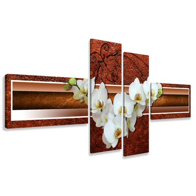 Urban Designs Orchid 4 Piece Photographic Print Wrapped on Canvas Set