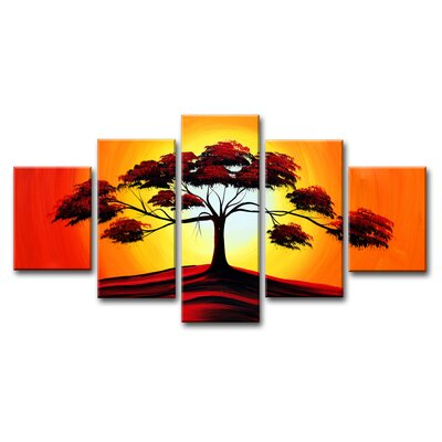 Urban Designs Tree 5 Piece Graphic Art Wrapped on Canvas Set