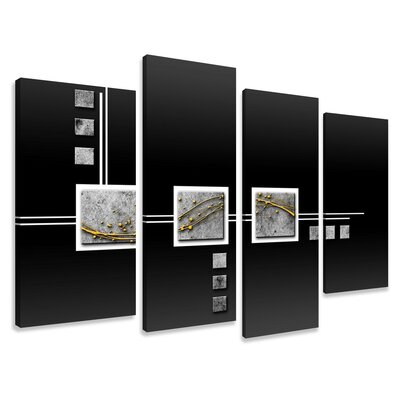 Urban Designs Abstract 4 Piece Graphic Art Wrapped on Canvas Set