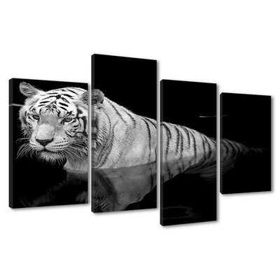 Urban Designs Tiger Water 4 Piece Photographic Print Wrapped on Canvas Set
