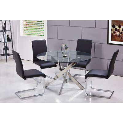 Fields 5 Piece Dining Set Upholstery Color: Black