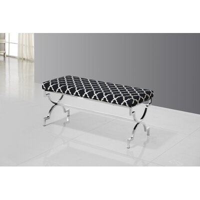 Bethany Upholstered Bench Color: Silver