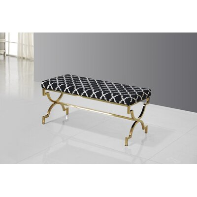 Bethany Upholstered Bench Color: Gold