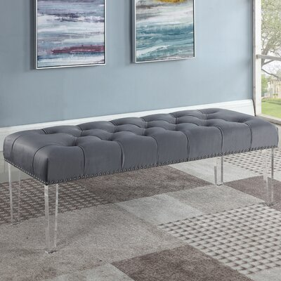 Stockbridge Upholstered Bedroom Bench Upholstery: Gray