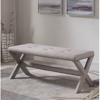 Vanslyke Upholstered Bedroom Bench Upholstery: Neutral Gray