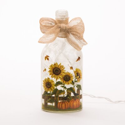 Lighted Frosted Sunflower Glass Bottle