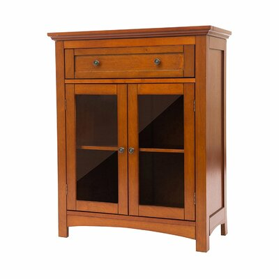 Wooden Shelved Floor 1 Drawer Accent Cabinet