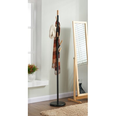 Metal with Solid Wood Hook Coat Rack
