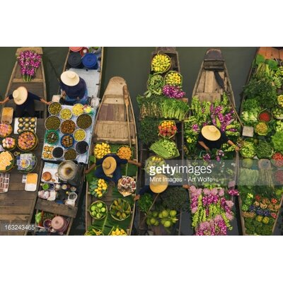 GettyImagesGallery A Floating Market on A Canal in Thailand by Mint Images - Art Wolfe Photographic Print