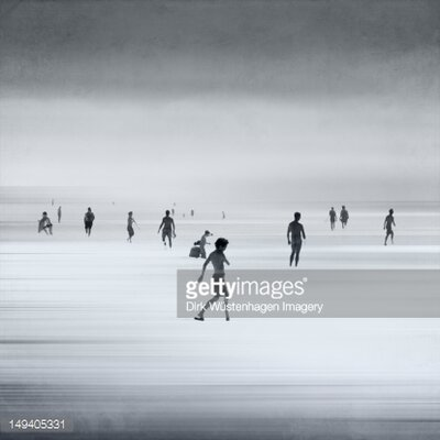 GettyImagesGallery Skating on Snow Abstraction of People on Beach by Dirk Wüstenhagen Photographic Print