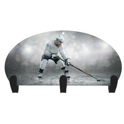 Jones Hockey Player 3 Hook Coat Rack