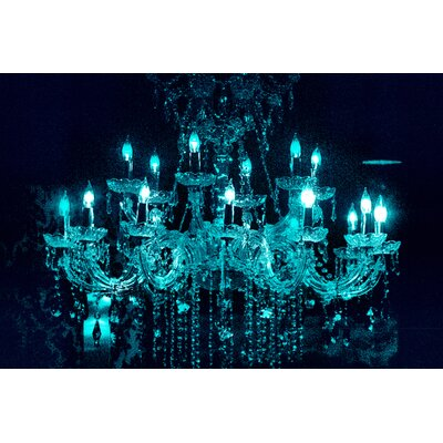 Fluorescent Palace Liquid Chandelier Photographic Print on Canvas in Blue