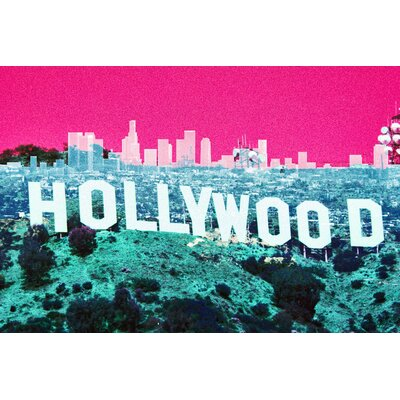 Fluorescent Palace Hollywoodland Graphic Art on Canvas in Pink